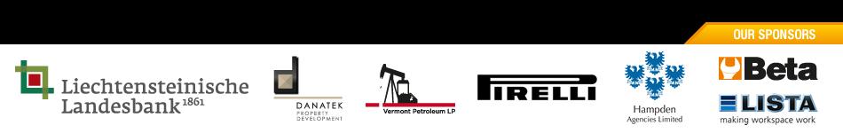 Our sponsors - Liechtensteinische Landesbank 1861, Danatek Property Development, Vermont Petroleum LP, Pirelli, Hampden Agencies Limired, Beta, Lista